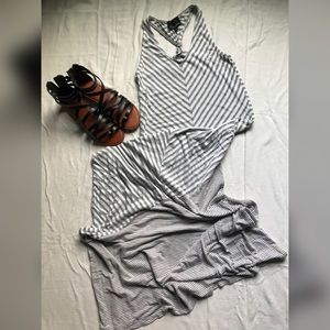 Maxi Dress Gray & White Striped, S